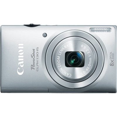 PowerShot ELPH 130 IS Silver 16MP Digital Camera with WiFi and 8x Opt. Zoom