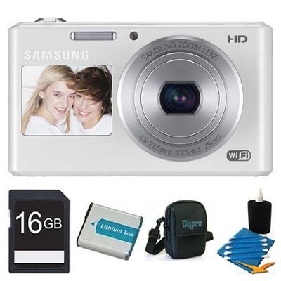 DV150F Dual-View 16.2 MP Smart Camera with Built-in Wi-Fi - White 16GB Bundle