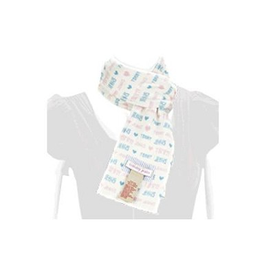 Fashionable Scarf - Blue & Pink Heart Design