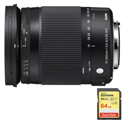 18-300mm F3.5-6.3 DC Macro OS HSM Lens for Canon EF Cameras w/64GB Memory Card