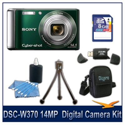 Cyber-shot DSC-W370 14MP Green Digital Camera   with 8GB Card, Case, and More