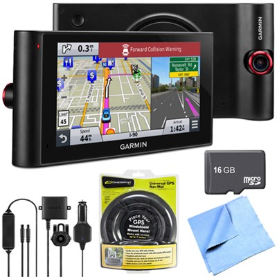 nuviCam LMTHD 6` GPS w/ Built-in Dashcam, Maps, HD Traffic Friction Mount Bundle