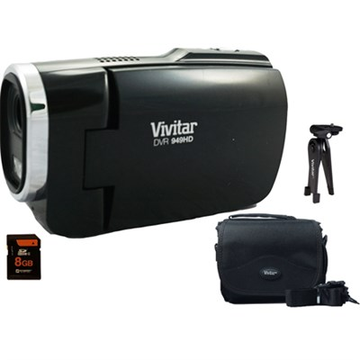 Full HD Digital Camcorder DVR949-Black w/ Gadget Bag, Tripod, 8GB SD Card Kit