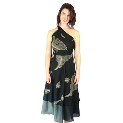 100 Way Wrap Skirt Dress, Tropical - Black (One Size)