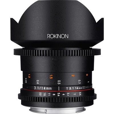 DS 14mm T3.1 Full Frame Ultra Wide Angle Cine Lens for Canon EF Mount