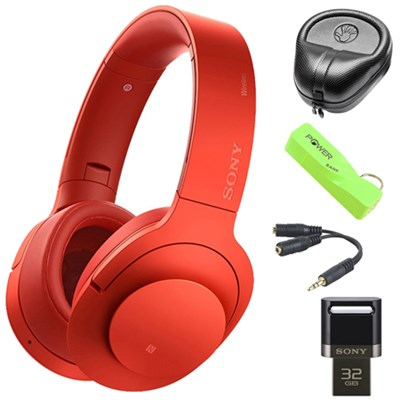 Wireless NC On-Ear Bluetooth Headphones w/ NFC Red w/ 32 GB Flash Drive Bundle