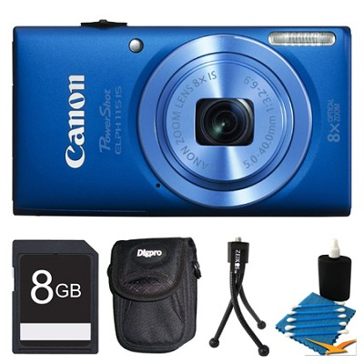 Powershot ELPH 115 IS Blue Digital Camera 8GB Bundle