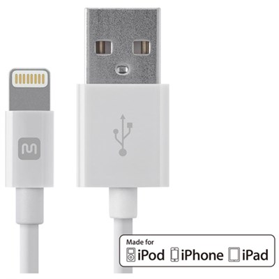 Select Series Apple MFi Cert. Lightning to USB Charge/Sync Cable, 3ft White