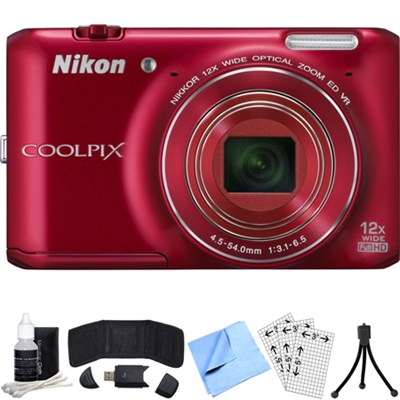 COOLPIX S6400 16MP Digital Camera with 12x Zoom (Red) Refurbished Bundle