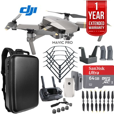 Mavic Pro Platinum Quadcopter Drone Dual Battery 64GB Kit