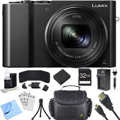 ZS100 LUMIX 4K 20 MP Digital Camera w/ Wi-Fi Black (DMC-ZS100K) 32GB Card Bundle