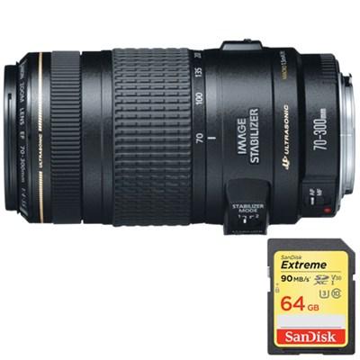 EF 70-300mm F/4-5.6 IS USM Lens w/ Lexar 64GB Memory Card