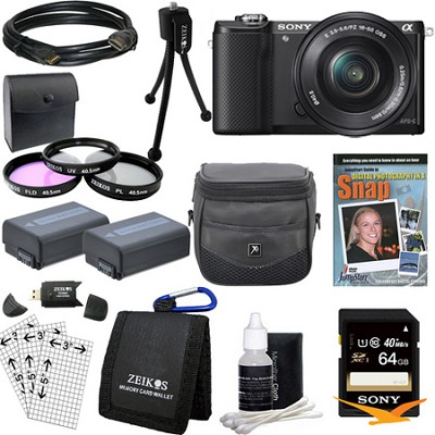 a5000 Compact Interchangeable Lens Camera Black w 16-50mm Lens Essentials Bundle