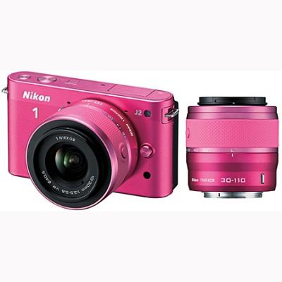 1 J2 SLR Pink Digital Camera w/ 10-30mm & 30-110mm VR Lenses (27588)