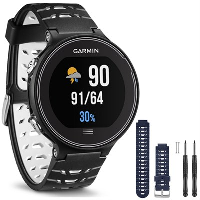 Forerunner 630 GPS Smartwatch - Black and White - Blue Watch Band Bundle