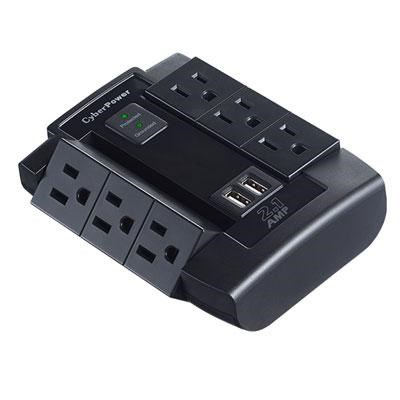 6-Outlet Professional Surge Protector with 2 USB Charging Ports - CSP600WSU