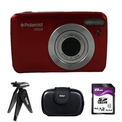 Polaroid 16MP Digital Camera IS624 - Red - 4GB Accessory Kit