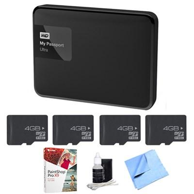 My Passport Ultra 4 TB Portable External Hard Drive, Black w/ Memory Bundle