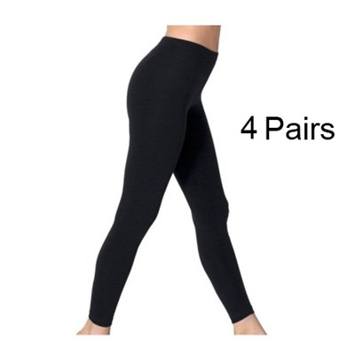 Black Opaque Footless Soft & Warm Fleece-Lined Leggings - 4 Pairs