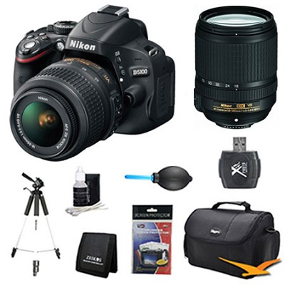 D5100 DX-format DSLR Body w/ 18-55mm VR and 18-140mm VR Pro Lens Bundle