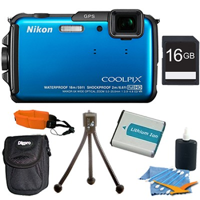 COOLPIX AW110 16MP Water/Shock/Freezeproof Blue Digital Camera Plus 16GB Kit