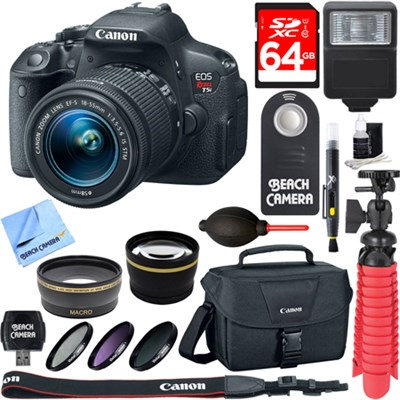 EOS Rebel T5i SLR Digital Camera + EF-S 18-55mm IS STM Lens Memory & Flash Kit