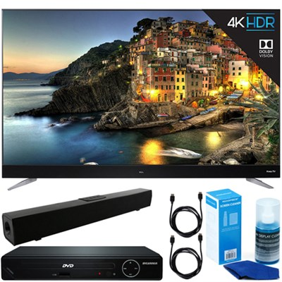 65` UHD Dolby Vision HDR 2017 Roku Smart LED TV + DVD Player + Sound Bar Bundle