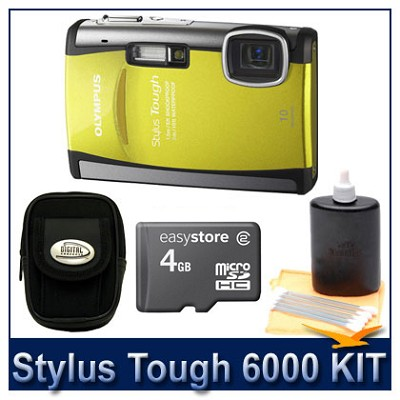 Stylus Tough 6000 10MP 2.7` LCD Digital Camera (Yellow) Super Savings Kit