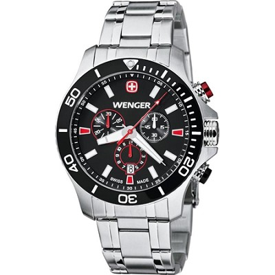Men's Sea Force Chrono Watch - Black and Red Dial/Stainless Steel Bracelet