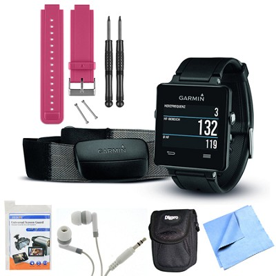 vivoactive GPS Smartwatch Black with Heart Rate Monitor Berry Band Bundle