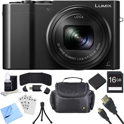 ZS100 LUMIX 4K 20 MP Digital Camera w/ Wi-Fi Black (DMC-ZS100K) 16GB Card Bundle