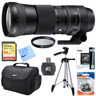 150-600mm F5-6.3 DG OS HSM Zoom Lens (Contemporary)for Sigma DSLR Cameras Bundle