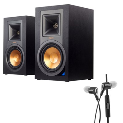 Powered Monitor Speakers with Bluetooth (Pair) R-15PM w/ Klipsch R6i Headphone