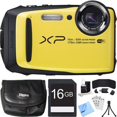 FinePix XP90 16 MP Waterproof Digital Camera Yellow 16GB SDHC Card Bundle