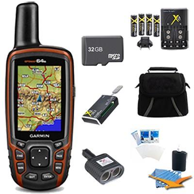 GPSMAP 64s Worldwide Handheld GPS with 1 Year BirdsEye 32GB Accessory Bundle