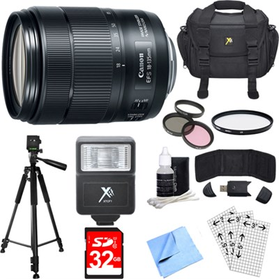EF-S 18-135mm f/3.5-5.6 IS USM Lens w/ Authorized Dealer Warranty Deluxe Bundle