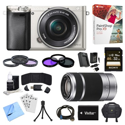 Alpha a6000 Silver Camera with 16-50mm, 55-210mm Lenses and Accessories Bundle