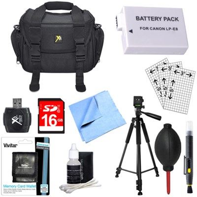 Fully Loaded Value Tripod & LP-E8 Battery Kit for Canon Rebel T5I T4i, T3i & T2i