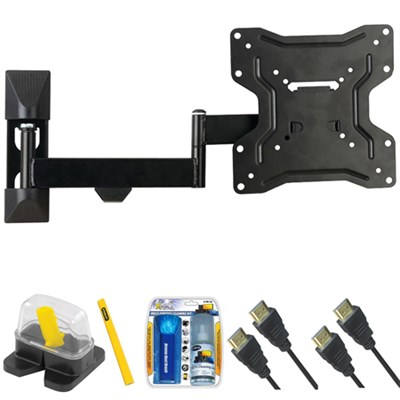 DIY Basics Medium Full Motion TV Mount & Set Up Kit for 13`-37` TVs up to 50LB