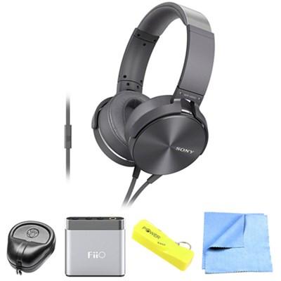 Full-Size Silver Headphones w/ Extra Bass - MDRXB950AP/H w/ FiiO A1 Amp. Bundle