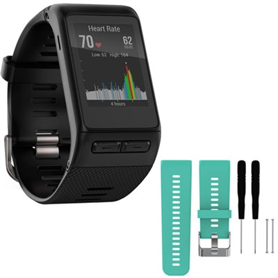 vivoactive GPS Smartwatch Regular Fit Black w/ Silicone Band Strap + Tools Teal