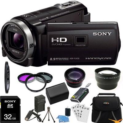 HDR-PJ430V 32GB Full HD Camcorder 8.9MP stills with Projector Ultimate Bundle