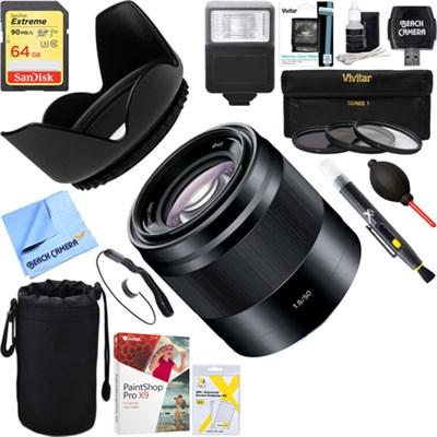 50mm f/1.8 Mid-Range Prime E-Mount Lens Black + 64GB Ultimate Kit