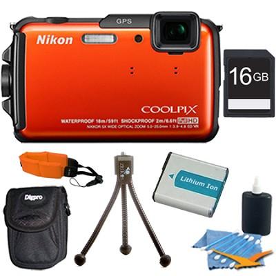 COOLPIX AW110 16MP Water/Shock/Freezeproof Orange Digital Camera Plus 16 GB Kit