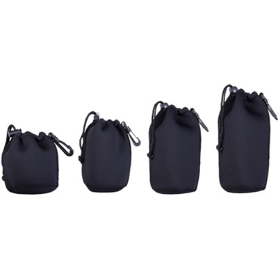 Neoprene Lens Pouch 4-Pack includes 4.5` + 6` + 8` + 10` Pouches w/ Hook