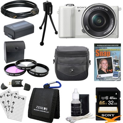 a5000 Compact Interchangeable Lens Camera White w/ 16-50mm Lens Ultimate Bundle
