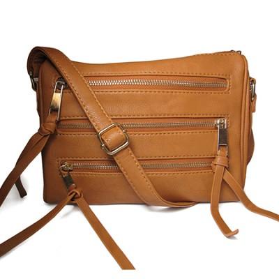 3 Zipper Detail PU Messnger Bag with Chain Strap (Beige) - 3004BEG