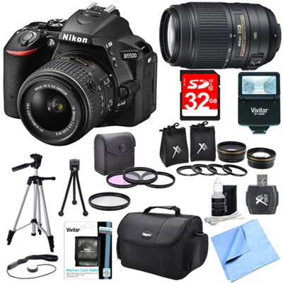 D5500 Black DSLR Camera 18-55mm Lens, 55-300 Lens, Lens Set, and Flash Bundle
