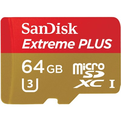 Extreme Plus microSDXC 64GB UHS U3 Class 10 Memory Card with Adapter