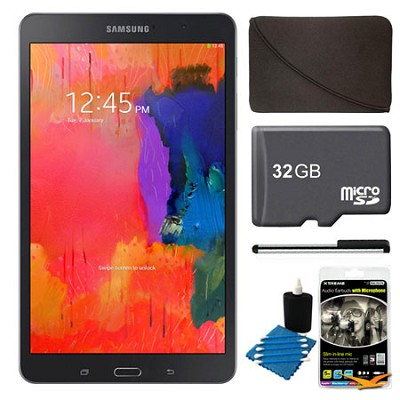 Galaxy Tab Pro 8.4` Black 16GB Tablet, 32GB Card, Headphones, and Case Bundle